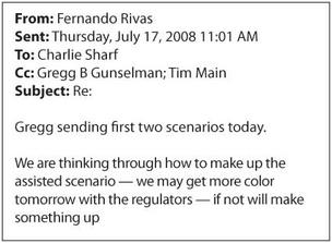 The text of an email sent between JPMorgan Chase executives regarding WaMu at the end of July 2008. The document was recently released as an exhibit in federal bankruptcy court.