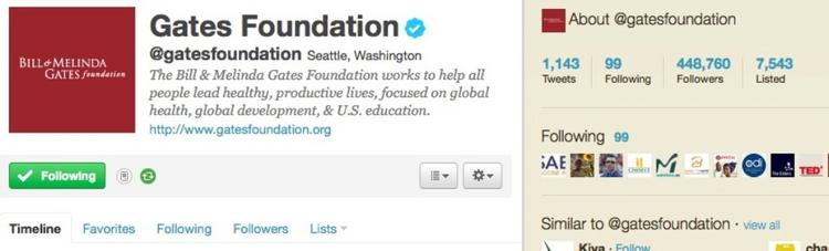 Screen shot of the Gates Foundation Twitter page.