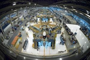 Boeing builds the wings and aft end of the F-22 Raptor, here shown on the Lockheed Martin Corp. final production line.