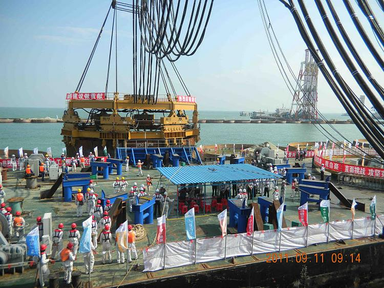 Chinese leaders in September celebrated the completion of American Piledriving's foundation project for a bridge in the South China Sea.