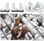 Alternative 2 calls for one approximately 1-million-square-foot office tower on each of the three blocks, positioned parallel to Lenora and Blanchard Streets.