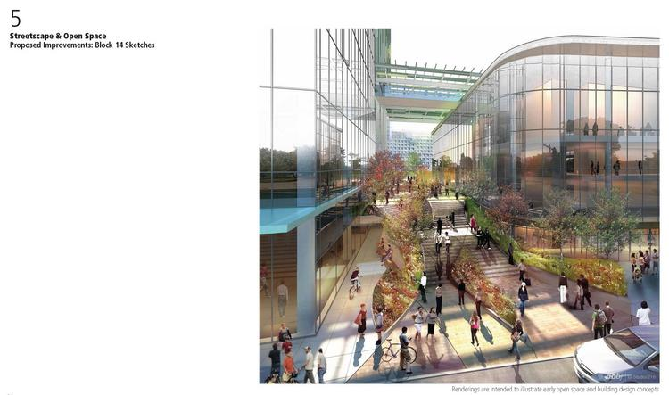 A canopy is planned to cover a portion of the public plaza. To the left is the dedicated bike entrance to the building in Amazon's proposed Seattle headquarters.