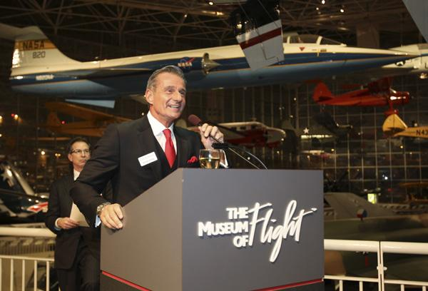Puget Sound Business Journal Publisher Gordon Prouty welcomes guests at the Puget Sound Business Journal Book of Lists Extravaganza at the Museum of Flight in Seattle on Thursday.