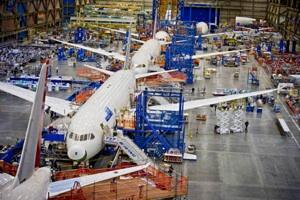 787s being assembled on Boeing's primary Everett line