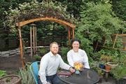 Cafe Flora owner Nat Stratton-Clarke and Executive Chef Janine Doran in the restaurant's herb garden.