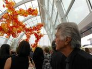Actor/director  Tom Skerritt in a crowd of hundreds at Saturday's pre-opening party for Chilhuly Garden and Glass , which opens to the public today (Monday, May 21.)