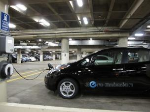 Electric vehicle charging station in Rainier Square garage.