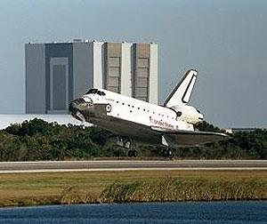 Shuttle Endeavour lands