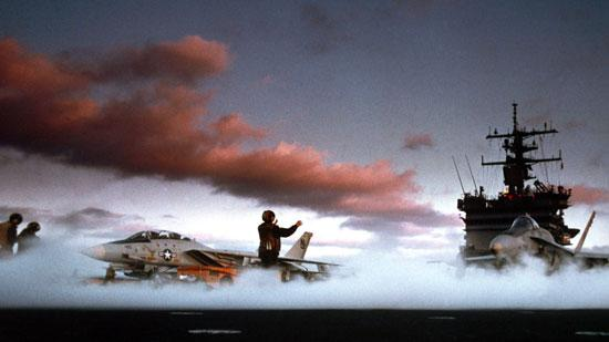 'Top Gun' used F-14 fighter planes, left, launching from the USS Enterprise