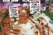 One of the changes Pike Place Fish Market made to sell only 100% sustainable seafood was switching the sourcing of the King Crab they sell.  In the past they could get a better price on King Crab from Russia, but in order to make sure the King Crab they are selling is sustainable they switched to Alaskan King Crab only.