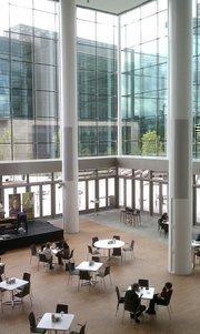 Interior view of the Gates Foundation atrium