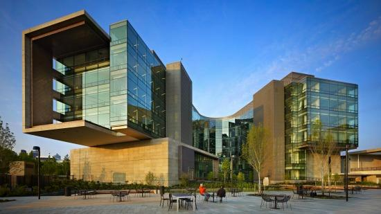 Architects NBBJ designed the campus buildings to rotate in different directions, symbolizing reaching out to the world.