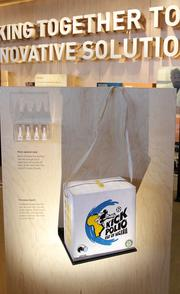 An insulated box used to deliver vaccines by car, mule, camel or bike to rural clinics is displayed in the Partnerships gallery of the Bill & Melinda Gates Foundation visitors center.