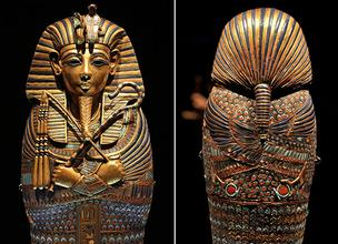 This Canopic Coffinette is one of four miniature coffins that held internal organs of King Tut and was found in his tomb. This one held his stomach and is on display at :Tutankhamun: The Golden King and the Great Pharaohs