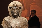 """A statue of Ramesses II on display at """"Tutankhamun: The Golden King and the Great Pharaohs"""" at the Pacific Science Center."""