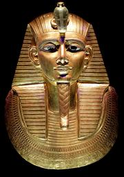 The golden mask of Psusennes I on display at the King Tut exhibition at Seattle's Pacific Science Center.