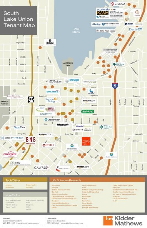 Map shows tech firms flocking to Seattles S Lake Union Puget