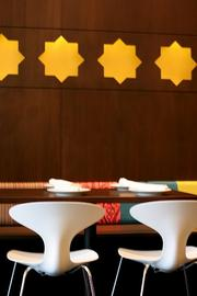 Moksha restaurant in Bellevue Square features bright colors and food from the Indian state of Tamil Nadu.