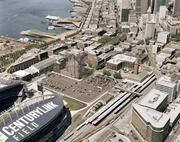 An aerial view of the planned Stadium Place development, looking north to Seattle.