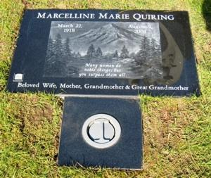 Visitors can scan the small rectangular code on the lower left of the grave of David Quiring's mother, Marcelline Quiring, and learn more about her.