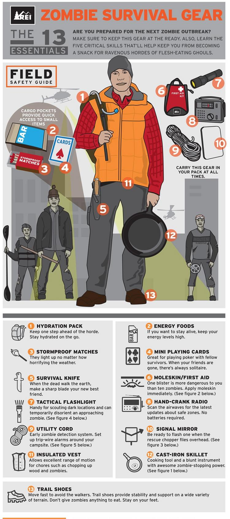 """REI will offer """"Zombie Preparedness – Surviving a Zombie Apocalypse,""""   an urban survival course, at 45 stores across the country."""