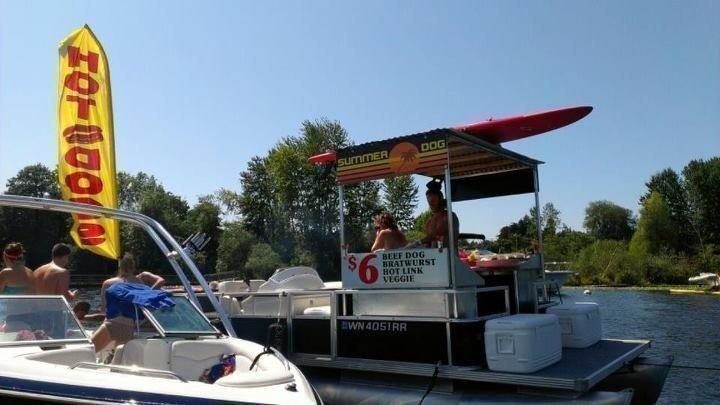 Chris Rice and Emma Schwartzman run Summer Dog, a floating Seattle hot-dog stand.