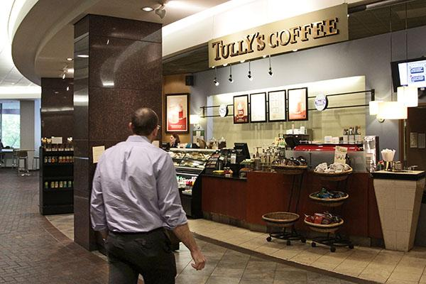 The Tully's Coffee in the Columbia Tower in downtown Seattle is one of nine stores in the Puget Sound region that will close on Sunday after Tully's filed for bankruptcy.