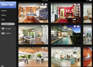 The Zillow Digs home page lets homeowners browse through photos of kitchens, bathrooms and other rooms to gather ideas for their own remodeling projects.