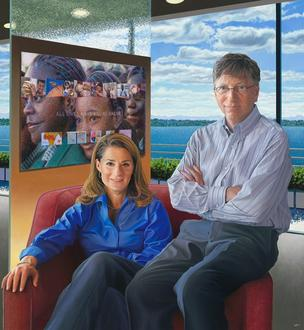 Portrait of Bill and Melinda Gates by Jon Friedman