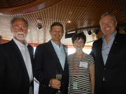Left to right: Bob Betz, Betz Family Winery; Ted Baseler, head of Ste. Michelle Wine Estates; Pam Eakes, former chair of Auction of Washington Wines; Stein Kruse, head of Holland America Line and Seabourn. The four are at the Chairman's Leadership Luncheon on August 10, honoring the 25 year anniversary of the Auction of Washington Wines, a lunch aboard ms Amsterdam, a Holland America ship.