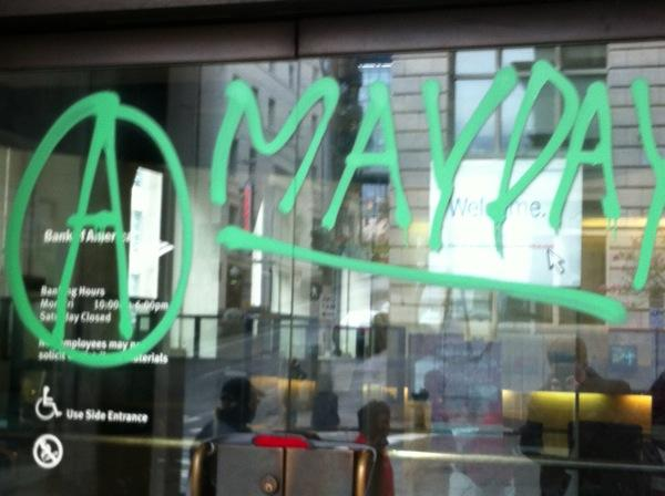 Vandals struck a Bank of America branch in downtown Seattle thiis weekend.