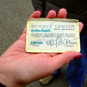 """Lifetime pass given to Gordon """"Corky"""" Russell at the age of 13 years old, on October 22, 1962, because he was first visitor into the Pacific Science Center the day after the World's Fair closed its doors."""