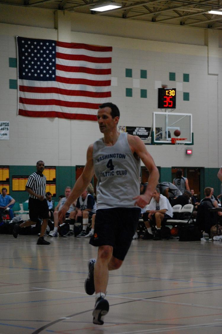 Sellen Construction CEO Bob McCleskey, playing basketball in a tournament, something he does on a regular basis. McCleskey's heart stopped beating while playing in a recent tournament at the Washington Athletic Club.