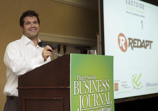 Dave Cantu, co-founder of Redapt Inc. of Redmond, accepts the award after his company was ranked No. 1 at the Puget Sound Business Journal's Eastside Fastest-Growing Private Companies Awards event.