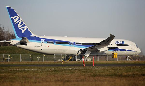 An All Nippon Airways Boeing 787 Dreamliner sits parked at Paine Field in Everett.