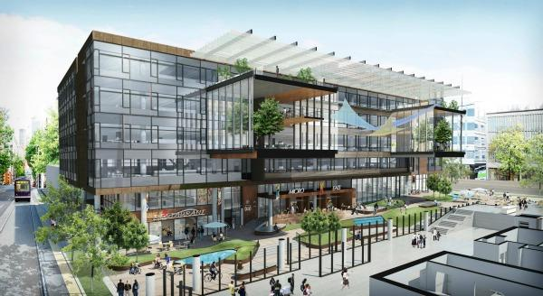 An artist's rendering of designs for a planned expansion of Amazon's headquarters in Seattle's South Lake Union neighborhood.