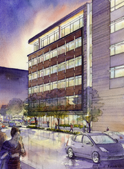 A rendering shows the view from Republican Street of Amazon's planned new buildings in South Lake Union.