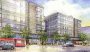 This rendering shows the Westlake Avenue side of a proposed two-building expansion for Amazon.com in South Lake Union.