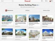 A screen grab of the Boston Business Journal's pinboard, showing architects' renderings for planned buildings throughout Boston. After a careful read of the fine print, it has been taken down.