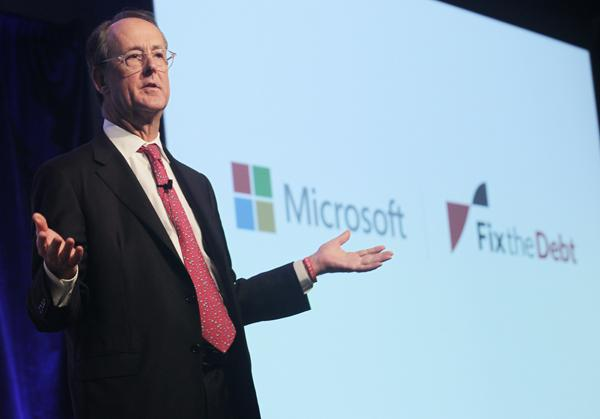 Erskine Bowles, co-chair of the National Commission on Fiscal Responsibility and Reform,  speaks to Microsoft employees about the national financial crisis and the impending fiscal cliff at Microsoft headquarters in Redmond on Friday.