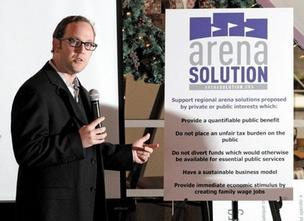 Brian Robinson, president and founder of Arena Solution, donned a jacket and glasses for a recent presentation to the Ballard Rotary Club. Robinson says he's moved beyond the divisive time when he was an advocate for Sonics fans as the team was leaving Seattle.