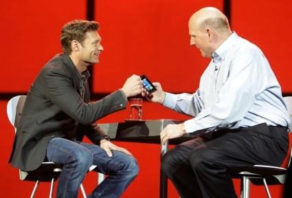 'American Idol' host Ryan Seacrest chats it up with Microsoft CEO Steve Ballmer, during Ballmer's opening keynote address at the 2012 Consumer Electronics Show.