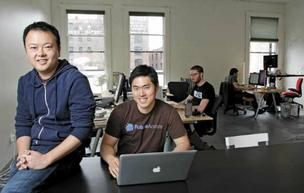 Jon Xu, left, and Bo Lu of FutureAdvisor, based in Pioneer Square, are touting their investment website to Facebook stockholders.