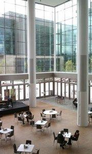 Interior view of the Gates Foundation atrium. (Clay Holtzman)