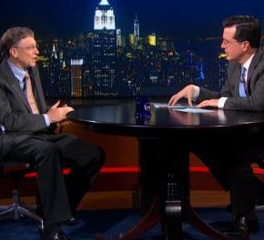 Microsoft co-founder Bill Gates (left) talked about Steve Jobs, polio and technology during an appearance on Stephen Colbert's Comedy Central show, The Colbert Report.