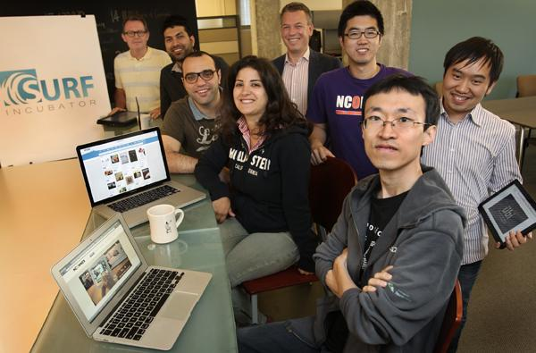 """A group of employees from some of the 40 SURF Incubator startups. Left to right in this photo are David Smith of Hive6; Anup Chathoth of UBI; George Khour and Sarah Farhat of Attendible; Denis Kiseleve of SnapSwap; Haopeng """"Peter"""" Zhan and Dan Xie of NCONNEX and Chao Zhang of UBI."""