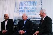 EMC Isilon Storage Division president Sujal Patel (from left), EMC chairman and chief executive Joe Tucci and Seattle Mayor Mike McGinn.