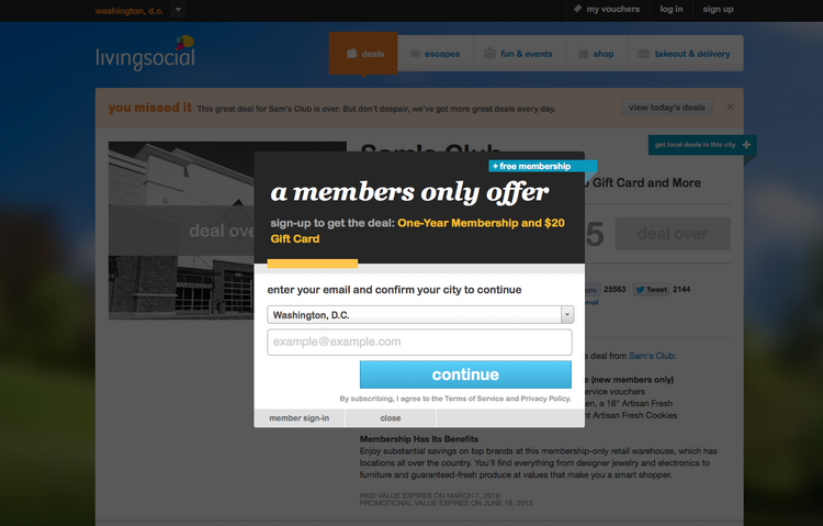 Living Social got a boost Tuesday from an offer for a discounted Sam's Club membership.