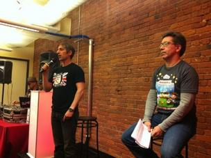 Zynga founder and CEO Mark Pincus (left) and Neil Roseman, Zynga's vice president of engineering, in Seattle in April
