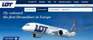 LOT Airlines, a struggling Polish company, has focused recent marketing campaigns on Boeing's 787 Dreamliner, including this image from the company's homepage.